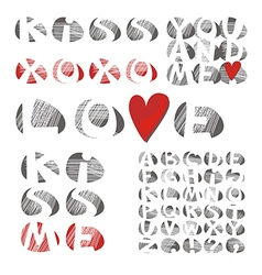 stone letters set vector image vector image