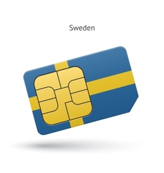 Sweden mobile phone sim card with flag vector