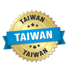Taiwan round golden badge with blue ribbon vector