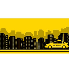taxi city background vector image vector image