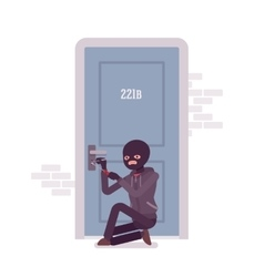 Thief ineffectually lockpicking the door vector image
