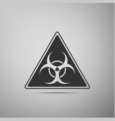 triangle sign with a biohazard sign flat icon on vector image
