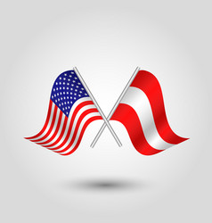 Two crossed american and austrian flags vector