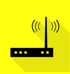 Wifi modem sign black icon with flat style shadow vector