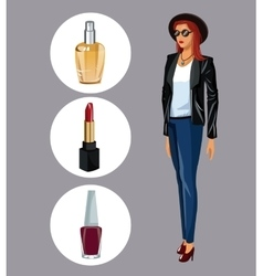 Wo modern with lipstick perfume and nail polish vector