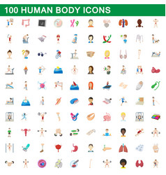 100 human body icons set cartoon style vector image vector image