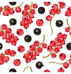 Black and red currant seamless pattern vector