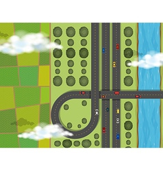 Aerial scene with cars on highway vector