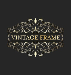 Vintage frame with gold decorative curves and vector image