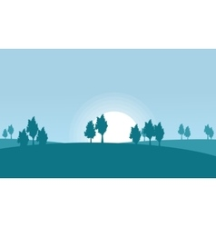 Silhouette of hill and tree scenery vector