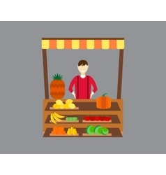 Street seller with stall fruits and vegetables vector