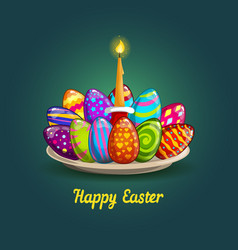 card with easter eggs and candle vector image