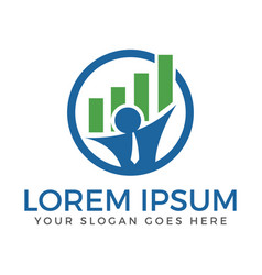 businessman and graph logo design vector image