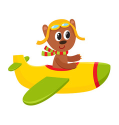 Cute teddy bear pilot character flying on airplane vector