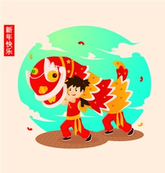 Chinese-lion-dance vector