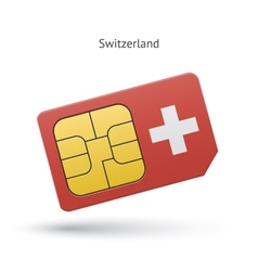 Switzerland mobile phone sim card with flag vector