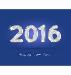 2016 Silver Glitter Digits with Happy New Year vector image