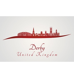 Derby skyline in red vector