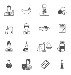 Pharmacist icon black set vector