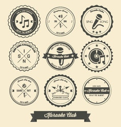 Karaoke vintage label vector