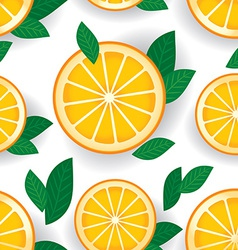 Orange with green leaves seamless pattern vector
