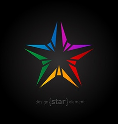 Abstract rainbow star design element on black vector