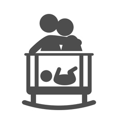 Parents put to sleep the baby pictogram flat icon vector image