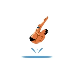 Athlete jumping into the water vector