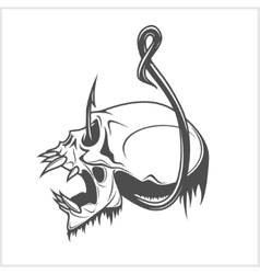 Skull on a fishing hook vector
