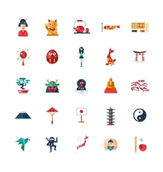 Flat design japan travel icons infographics vector