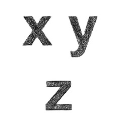 Sketch font set - lowercase letters x y z vector