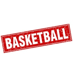 Basketball red square grunge stamp on white vector
