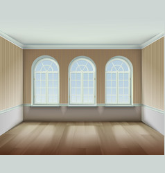 Room with arched windows vector