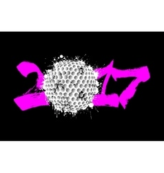 Abstract number 2017 and golf ball vector image vector image