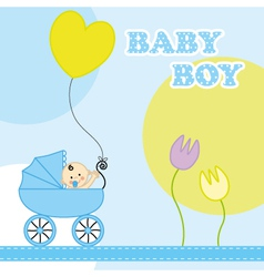 Baby boy birthday card vector