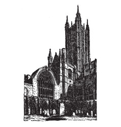 Canterbury cathedral vintage vector