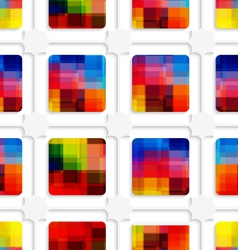 Colorful squares and net seamless pattern vector image vector image