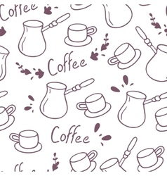 Doodle coffee seamless pattern with letteringHand vector image