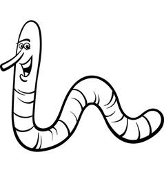 earthworm cartoon coloring page vector image vector image