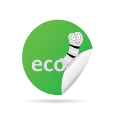 eco worm sticker vector image
