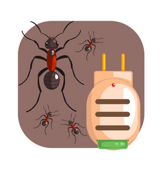 Electric anti ant fumigator colorful cartoon vector