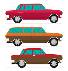 Flat old car set vector