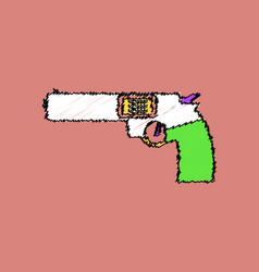 Flat shading style icon military handgun revolver vector