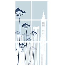 Floral cityscape background vector
