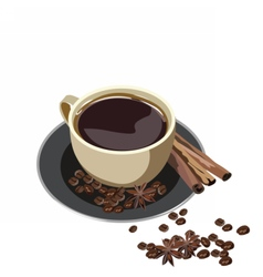 Fresh cup of coffee with cinnamon isolated vector