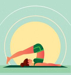 Girl lies in yoga plow pose or halasana vector