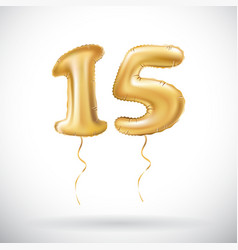 Golden number 15 fifteen metallic balloon party vector