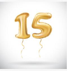 golden number 15 fifteen metallic balloon party vector image vector image