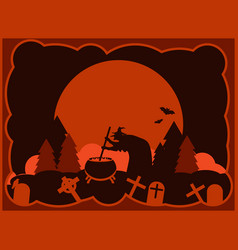 halloween old witch is brewing a potion in the vector image