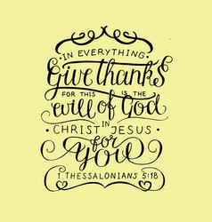 hand lettering in everything give thanks vector image vector image